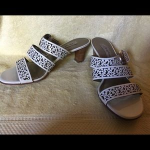 Brighton White Strappy Sandals, Size 7.5